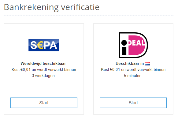 Bankrekening verificatie LiteBit
