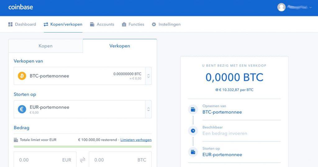 Coinbase BBitcoin verkopen