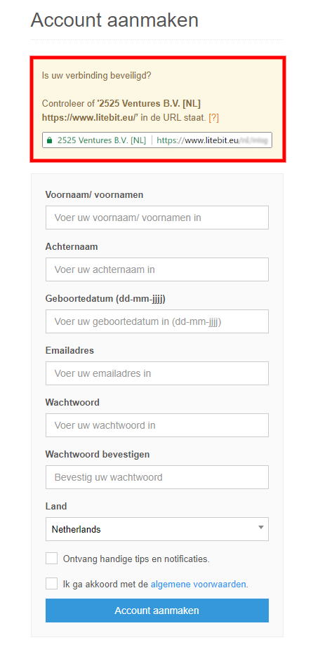 LiteBit account registratie
