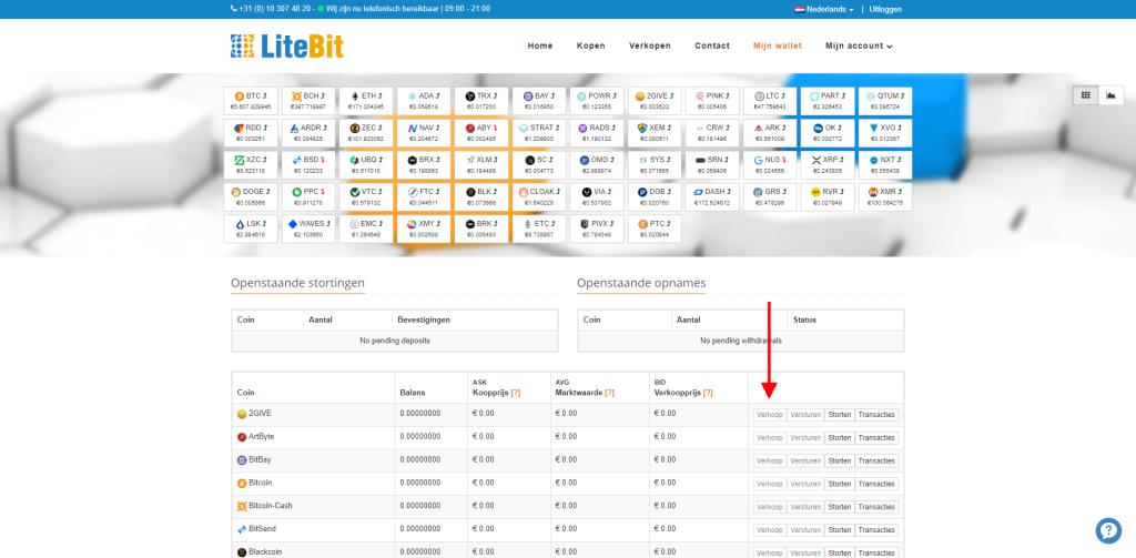 LiteBit crypto verkopen