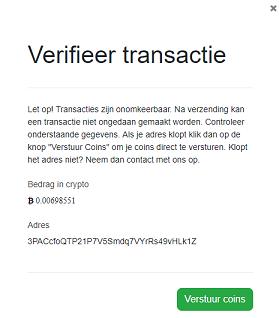 Transactie verificatie BTCdirect