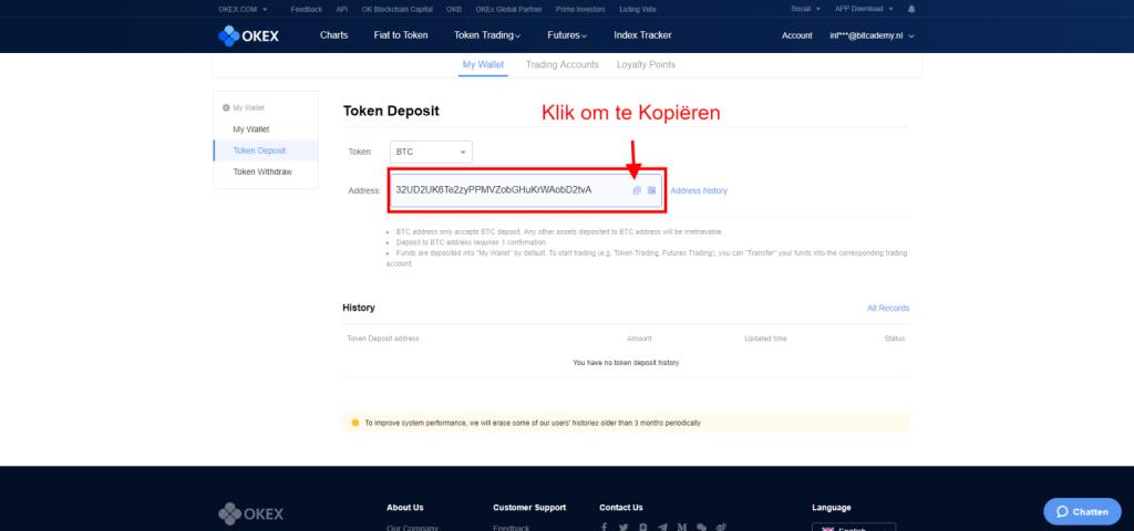 OKEX Bitcoin storten